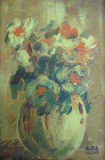 Flower Vase 3 (ART_3780_24704) - Handpainted Art Painting - 9in X 12in