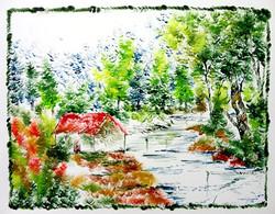 Scenery Art 08 - 13in X 11in,ART_KAPL40_1311,Mixed Media,Fingerprint work,Houses,Tents,Landscape,Nature,Tree,Waterfalls,Artist Kankana Pal - Buy Paintings Online in India.