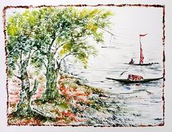 Scenery Art 09 - 13in X 11in,ART_KAPL41_1311,Mixed Media,Boats,Fingerprint work,Houses,Tents,Landscape,Nature,Tree,Waterfalls,Artist Kankana Pal - Buy Paintings Online in India.