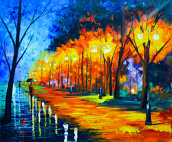 Fall Rain Alley (FR_1523_24238) - Handpainted Art Painting - 36in X 30in