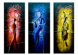 Abstract Music Band (FR_1523_24110) - Handpainted Art Painting - 36in X 36in