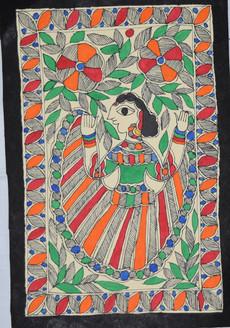 Woman Dancing in the Garden (ART_2168_21398) - Handpainted Art Painting - 7in X 11in
