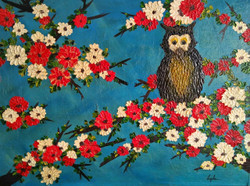 Majestic Owl - Lucky Charm (ART_2450_18465) - Handpainted Art Painting - 23in X 17in (Framed)
