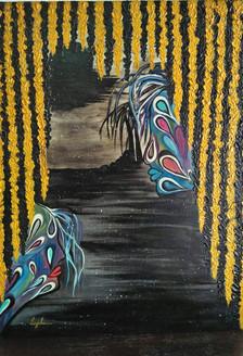 Lovers in Hope (ART_2450_18464) - Handpainted Art Painting - 18in X 23in