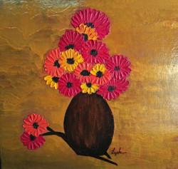 Subtlety in Flowers (ART_2450_18463) - Handpainted Art Painting - 16in X 16in (Framed)
