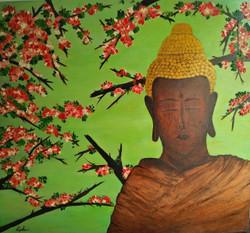 Meditation (ART_2450_18462) - Handpainted Art Painting - 33in X 28in (Framed)