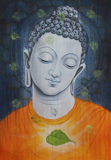 Buddha with leaf (ART_1522_17409) - Handpainted Art Painting - 24in X 36in