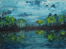 Kinfe painting - Landscape (ART_3943_24812) - Handpainted Art Painting - 8in X 10in (Framed)