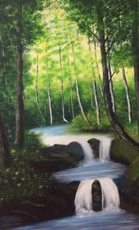 Waterfall  (ART_3873_24828) - Handpainted Art Painting - 36in X 24in