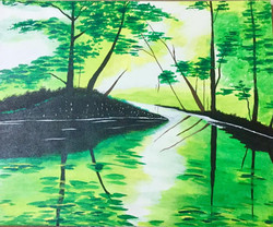 Green forest  (ART_3873_24822) - Handpainted Art Painting - 24in X 17in