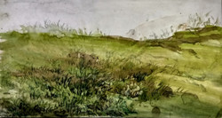 Onto the Bed of Grass (ART_3780_24834) - Handpainted Art Painting - 11in X 6in