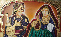 Rajasthani couple (ART_2830_24773) - Handpainted Art Painting - 52in X 36in (Framed)