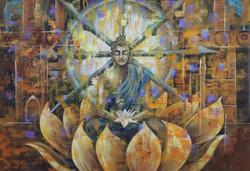 Buddha with lotus (ART_1522_15160) - Handpainted Art Painting - 36in X 24in