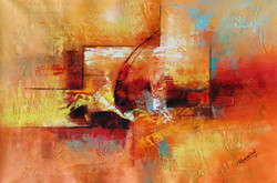 Abstract 014 (ART_1522_14353) - Handpainted Art Painting - 36in X 24in