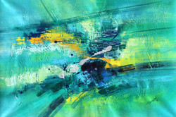 Abstract 011 (ART_1522_14350) - Handpainted Art Painting - 36in X 24in
