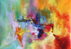 Abstract 05 (ART_1522_14341) - Handpainted Art Painting - 36in X 24in