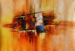Abstract 03 (ART_1522_14339) - Handpainted Art Painting - 36in X 24in