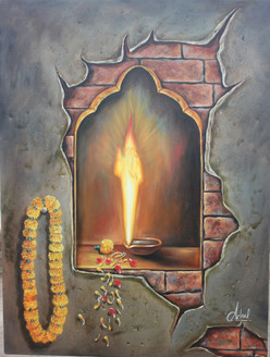 Aastha Sai 30x40 inch  (ART_1522_5799) - Handpainted Art Painting - 30in X 40in