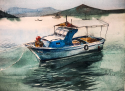 Boat 2 (ART_3780_24895) - Handpainted Art Painting - 18in X 12in