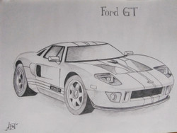 FordGT sketch (ART_3652_24891) - Handpainted Art Painting - 16in X 12in