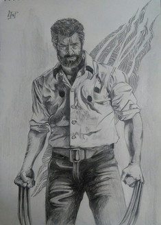 Wolverine Sketching (16x12 inches) Logan 2017 Hugh Jackman (ART_3652_23514) - Handpainted Art Painting - 12in X 16in