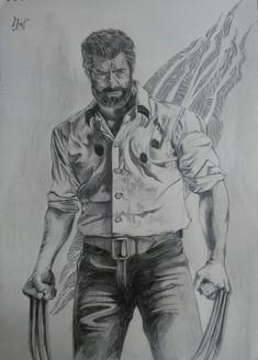 Wolverine Sketching (16x12 inches) Logan 2017 Hugh Jackman (ART_3652_23514) - Handpainted Art Painting - 12in X 16in