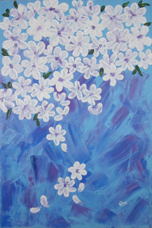 White cluster (ART_3971_24945) - Handpainted Art Painting - 12in X 18in (Framed)