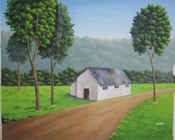 Road side cottage (ART_3971_24940) - Handpainted Art Painting - 19in X 15in