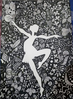 Passion for dance and the beauty of dancing (ART_3968_24920) - Handpainted Art Painting - 8in X 12in