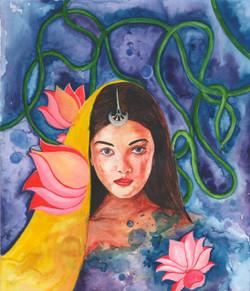 Alankar (ART_1661_22565) - Handpainted Art Painting - 10in X 11in