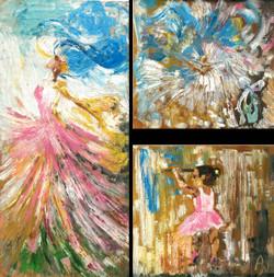 Ballerina's Dream (ART_1661_21740) - Handpainted Art Painting - 15in X 15in
