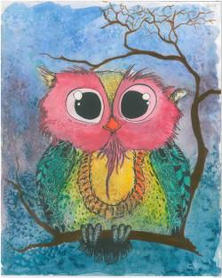 Inoccent Owl (ART_1661_20339) - Handpainted Art Painting - 11in X 14in