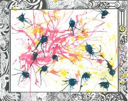 Flying Birds (ART_1661_20280) - Handpainted Art Painting - 14in X 11in
