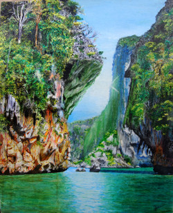Mountains (ART_3461_24983) - Handpainted Art Painting - 16in X 20in
