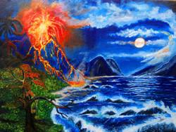 Valcano (ART_3461_24982) - Handpainted Art Painting - 18in X 14in