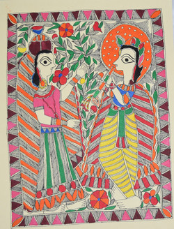 Madhubani Painting - ART039 Eternal love of Shri Krishna and Radhaji  (ART_2168_24964) - Handpainted Art Painting - 11in X 15in