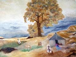 Desert Village - 27in X 21in,ART_PDBI30_2721,Oil Colors,27in X 21in,Artist Pramod.K.Bedi,Museum Quality - 100% Handpainted - Buy Painting Online in india