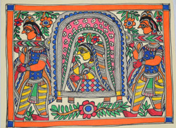 Madhubani Painting -ART024-Dulhan-in-Doli (ART_2168_24963) - Handpainted Art Painting - 15in X 11in