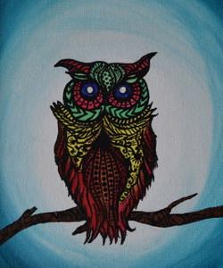 Owl Zentangle (ART_3976_24970) - Handpainted Art Painting - 9in X 11in (Framed)