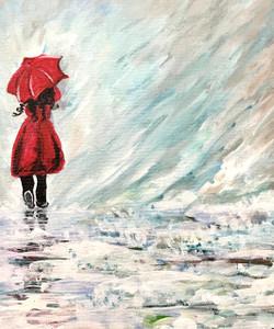 Girl in rain (ART_3976_24968) - Handpainted Art Painting - 9in X 11in (Framed)