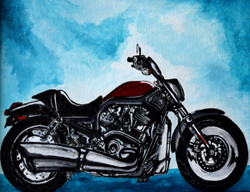 Motorbike (ART_3976_24967) - Handpainted Art Painting - 11in X 9in (Framed)