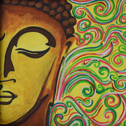 Peaceful Buddha Painting (ART_3976_24966) - Handpainted Art Painting - 9in X 9in (Framed)