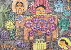 Kohbar Mithila religious  Madhubani Painting (ART_3977_24974) - Handpainted Art Painting - 12in X 16in