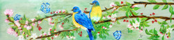 Birds On A Branch (ART_3461_24473) - Handpainted Art Painting - 29in X 7in