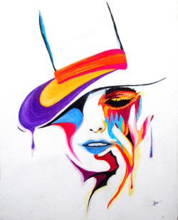 A Lady With A Hat (ART_3461_24472) - Handpainted Art Painting - 16in X 20in
