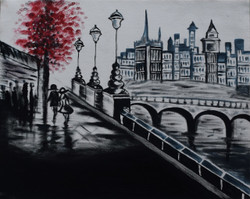 Black and white cityscape  walk of partners (ART_3633_23411) - Handpainted Art Painting - 20in X 16in