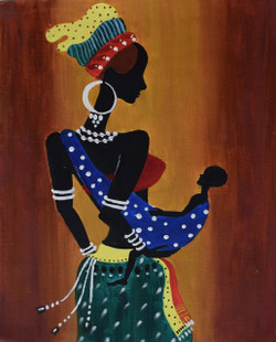 African tribal lady holding baby (ART_3633_23410) - Handpainted Art Painting - 16in X 20in