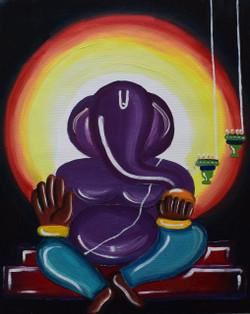 Lord Ganesha (ART_3633_23409) - Handpainted Art Painting - 16in X 20in