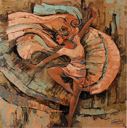 The Muse of Dance (2) (ART_2571_20543) - Handpainted Art Painting - 18in X 18in