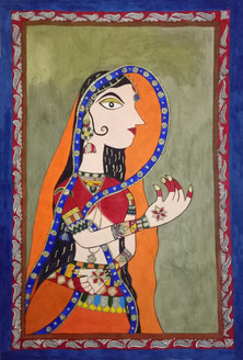 Indian Lady (ART_3973_25019) - Handpainted Art Painting - 16in X 23in